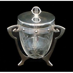 Antique WMF silver plated biscuit box with original glass liner. Stamped marks (c.1906)