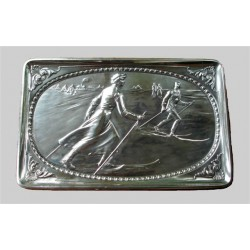 WMF wall plaque with winter scene and skiers. Stamped marks. Circa 1900