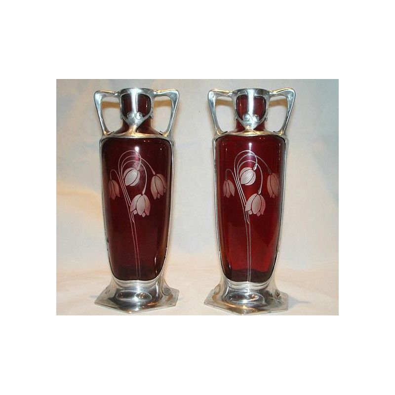 Pair of Osiris pewter and etched red glass vases. Stamped Osiris 836. Circa 1900