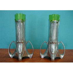 Antique WMF pair of pewter vases with original green crystal glass liners. Circa 1900