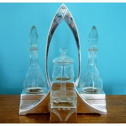 WMF silver plated dinner cruet set with original crystal glass fittings. Stamped marks. Circa 1905