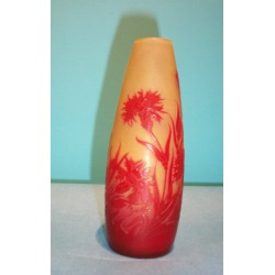 Antique Galle glass cameo vase. Signed in Pattern. (c.1900)