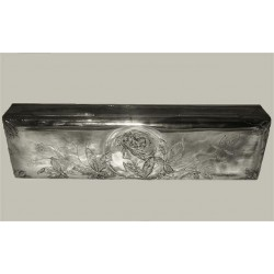 Orivit silver plated glove box with original silk lining. Stamped mark - model number 2124 (c.1900)