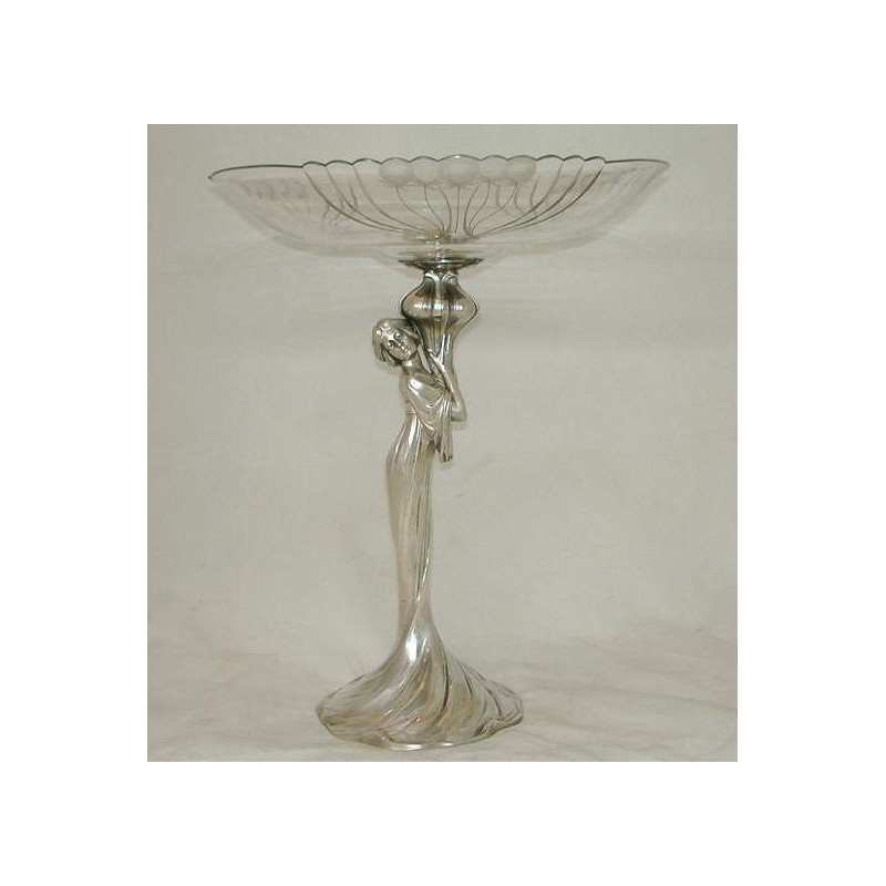 WMF Silver Plated and Engraved Crystal Fruit Stand. Stamped marks. Model 569a. Circa 1900
