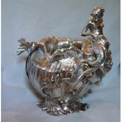 Antique WMF silver plated mermaid wine cooler. Stamped marks. Circa 1900