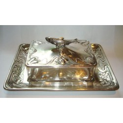 WMF silver plated sardine dish with original cut glass liner. Stamped marks. Circa 1900