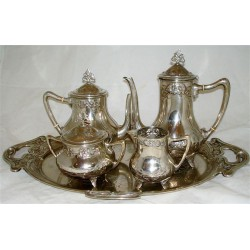 WMF silver plated tea and coffee set with tray. Stamped marks. Circa 1906
