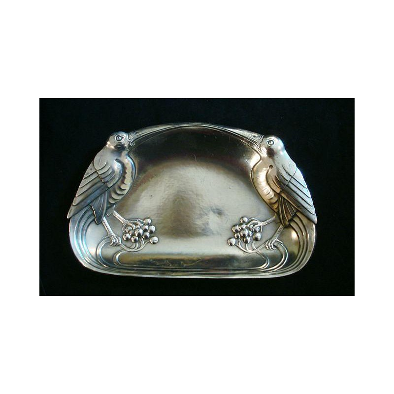WMF Silver Plated Visiting Card Tray with Stylised Birds. Stamped marks. Model number 285 (c.1906)