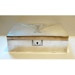 Silver plated silk lined WMF jewel casket with key. Stamped Marks. Circa 1900