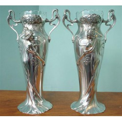 Pair of silver plated WMF flower vases embossed with flowing maidens with original crystal and engraved glass liners (c.1900)