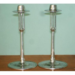 Pair of pewter Urania candlesticks. Stamped marks. Circa 1900