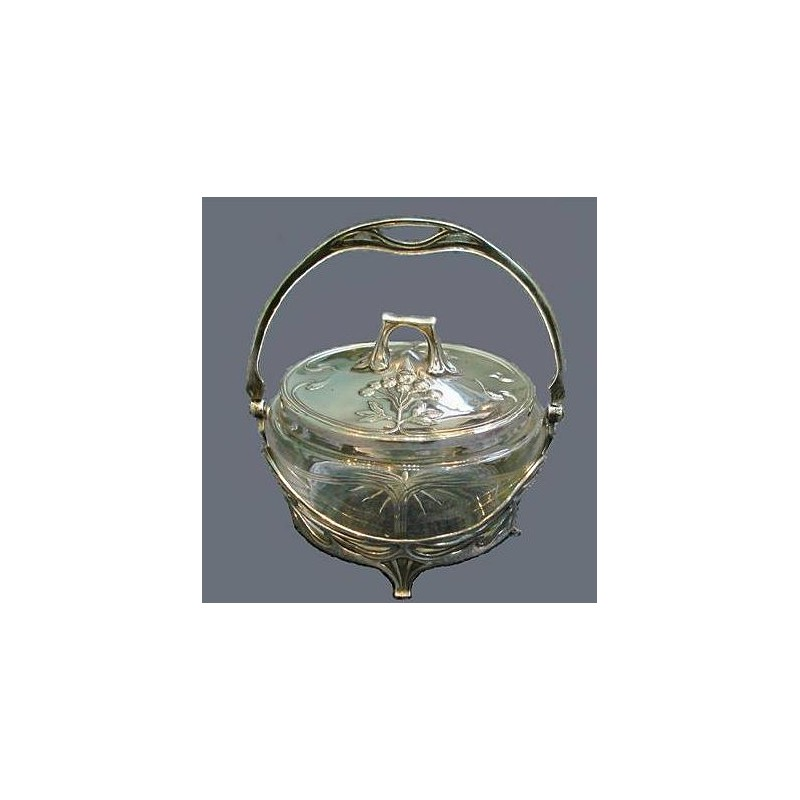 Silver plated WMF butter dish with original cut glass liner. Stamped marks. WMF book page 243. Item 209D. Circa 1900
