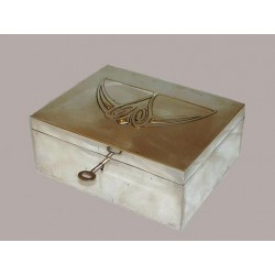 Silver plated WMF jewel box with original silk lining and key. Stamped marks. Circa 1900