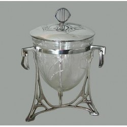 Silver plated WMF biscuit box with original crystal cut glass liner. Stamped marks. WMF book page 252. Item 344. Circa 1900
