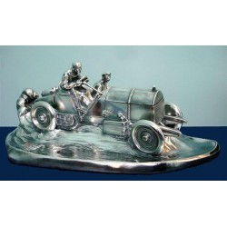 Wilhelm Zwick (1839-1916) silver plated pewter desk stand and Inkwell in the form of on an early Mercedes Benz racing car