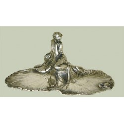 Silver plated WMF visiting card tray with an Art Nouveau Maiden. Stamped marks Model number 269. Circa 1906