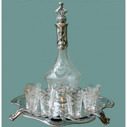 Silver plated WMF liquer service with original cut crystal glasses. Stamped marks. Circa 1900