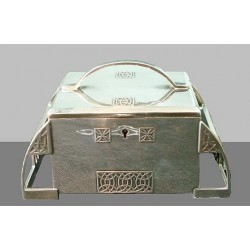 Silver plated silk lined WMF jewel casket. Stamped marks. Circa 1906