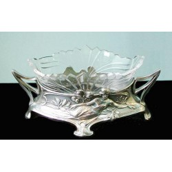 Silver plated antique WMF flower dish with original cut crystal glass liner. Stamped marks. (c.1906)
