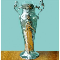 Antique WMF vase embellished with a flowing maiden with clear glass liner. Stamped marks. Circa 1900