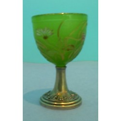 Antique Galle small goblet. Silver Base. (c.1900)