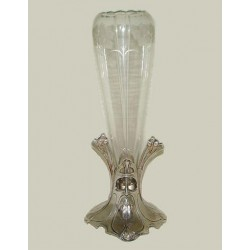 Art Nouveau silver plated flower holder with original crystal glass liner. Circa 1900