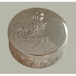 Silver plated WMF trinket box with original glass liner. Circa 1906