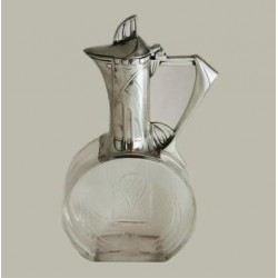 Silver plated WMF claret jug with finely cut crystal glass. Circa 1900