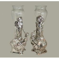 Pair of WMF silver plated flower vases with original clear crystal glass liners. Stamped marks (c.1900)