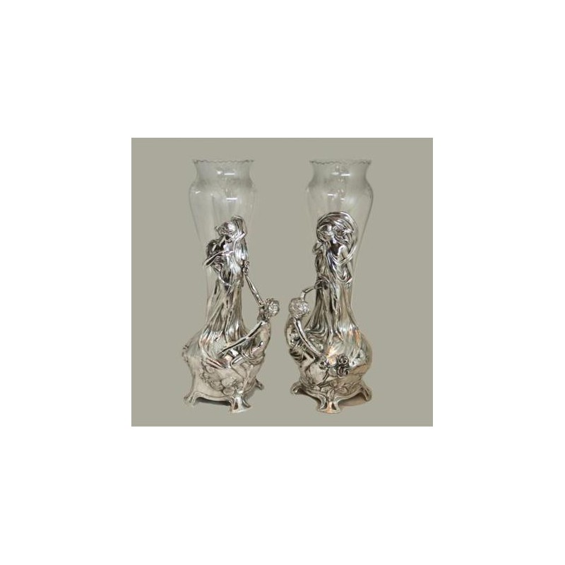 Pair Of Wmf Silver Plated Flower Vases With Original Clear Crystal