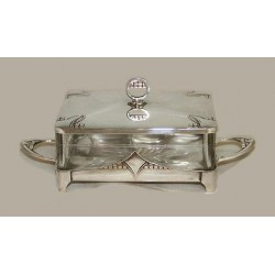 Silver plated WMF butter dish with crystal glass liner. Stamped marks. Circa 1906