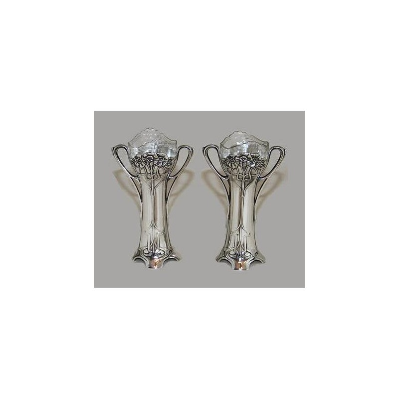 Pair of silver plated WMF vases with crystal glass liners. Circa 1900