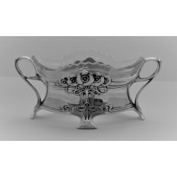 WMF Flower Dish with Original Cut Crystal Glass Liner. Circa 1900