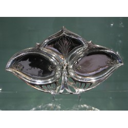 Antique WMF silver plated triple fruit or sweet dish. Stamped marks. Circa 1900