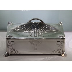 WMF silver plated and cedar lined cigar box. Stamped marks. Circa 1900