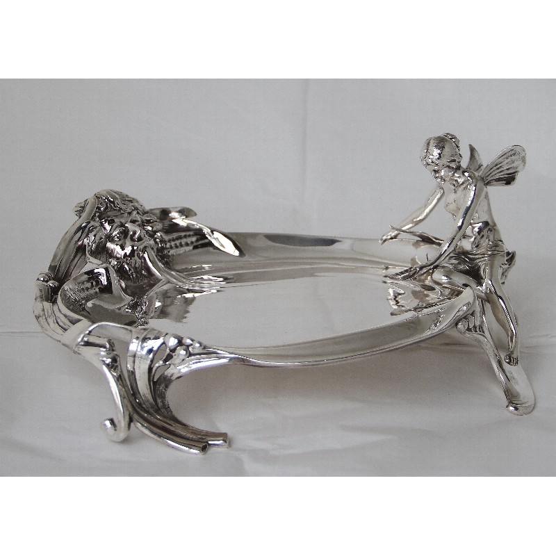 WMF silver plated visiting card tray with Neptune and Nymph. Circa 1900