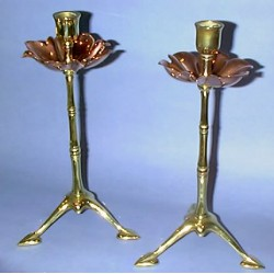 Pair of Benson candlesticks. Stamped mark to bases. Circa 1900