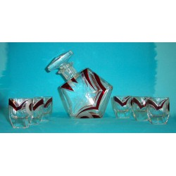 Bohemian Designed by Karl Palda Decanter Set Inc Six Glasses (c.1935)