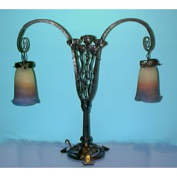 Muller Freres table lamp shades signed. French. Circa 1910.