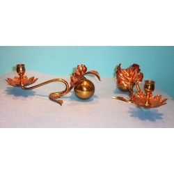 Pair of W. A. S. Benson copper and brass candlesticks. Circa 1900
