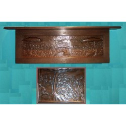 Pearson copper and oak wall shelf. Signed and dated 1900