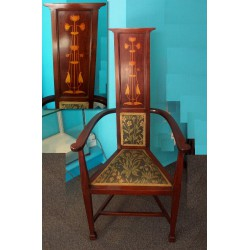 English Art Nouveau antique mahogany chair. Circa 1900