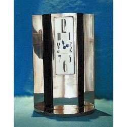 French Art Deco chromed bronze and marble clock. Signed to clock face - W Horowitz Alexandrie. (c.1930)