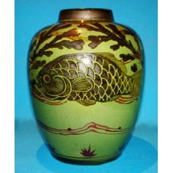 Pilkington Royal Lancastrian vase decorated with carp. Pilkington/Burton logo to base. Circa 1909