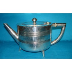 Christopher Dresser silver plated tea pot. Marked - For H Wheatfield. Model number 7001 (c.1880)