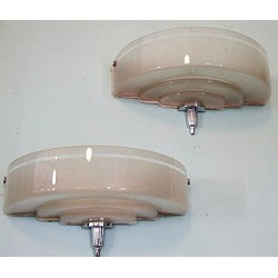 Art Deco Odeon streamlined wall lights. White glass with clear stripe across top. Circa 1925