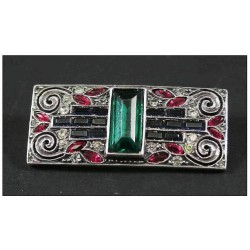 Art Deco French silver and paste brooch. Circa 1925