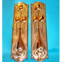 Set of two brass Arts & Crafts door plates. Circa 1900
