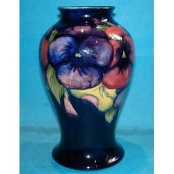 William Moorcroft Pansy Vase. Signed with green signature to base. Circa 1915