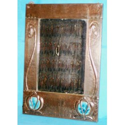 Arts & Crafts/Nouveau copper and enamel wall mirror with original mirror (c.1900)